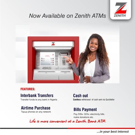 zenith bank cardless withdrawal